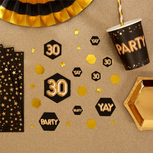 Glitz & Glamour Black & Gold Confetti Scatters 30th (100)